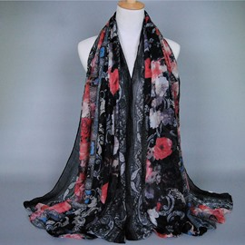 Showy Flowers Printed Voile Scarf