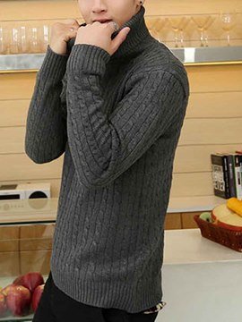 Ericdress Plain Heap Collar Pullover Men's Sweater