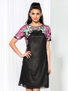 Ericdress Short Sleeve Appliques Column Cocktail Dress