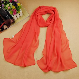 Concise Pure Color Female Chiffon Scarf