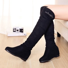 Ericdress Black Suede Knee High Boots