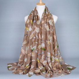 Classic Euramerican Style Feather Printed Voile Scarf