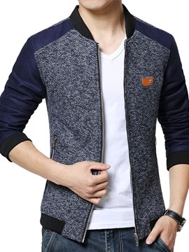 Ericdress Patched Zipper Knit Men's Jacket