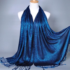 Elegant Gold Thread & Tassel Decorated Cotton Scarf