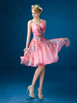 Ericdress A-Line Straps Pleats Print Homecoming Dress