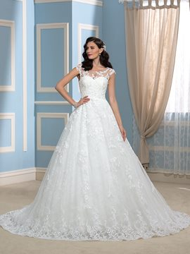 Ericdress Fancy Scoop A Line Lace Wedding Dress