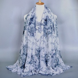 Elegant Flower Decorated Voile Scarf