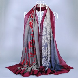 Retro Style Flowers Printed Vogue Voile Scarf