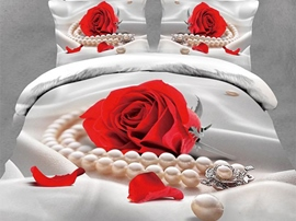 Ericdress Red Rose Pearl Necklace Print 3D Bedding Sets