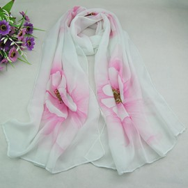 Concise Big Flower Decorated Chic Chiffon Scarf