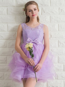 Ericdress Round Neck A-Line Lace Bowknot Mini Homecoming Dress