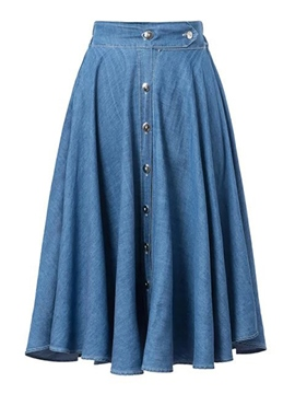 Ericdress Expansion Buttons Denim Skirt