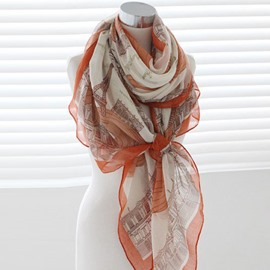 Wonderful Tower Pattern Elegant Voile Scarf