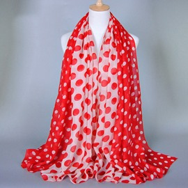 Charming Colors Matching Dot Decorated Voile Scarf
