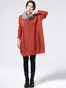 Ericdress Plain Loose Sweater Dress