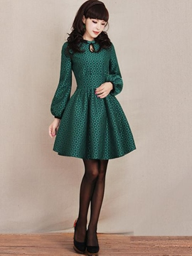 Ericdress Lantern Sleeve Expansion Vintage Casual Dress