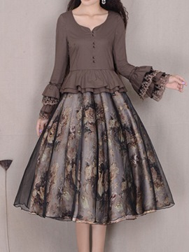 Ericdress Vintage Print Flare Sleeve Dress