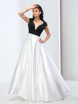 Ericdress Vintage A-Line Cap Sleeve Color Block Prom Dress