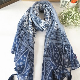 Tassel Decorated Flowery Printed Voile Scarf