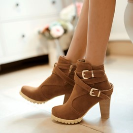 Ericdress Chic Chunky High heel Boots with Buckles