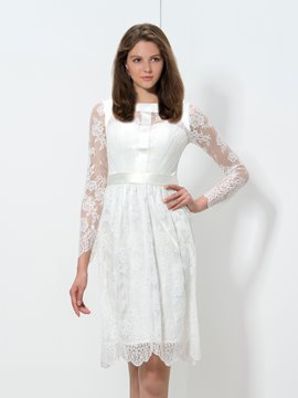 Ericdress Long Sleeve Lace Ribbon Cocktail Dress