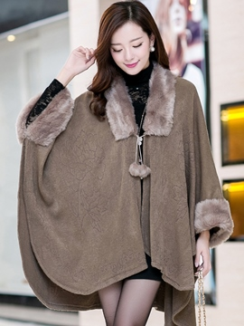 Ericdress Faux Fur Patchwork Knit Cape