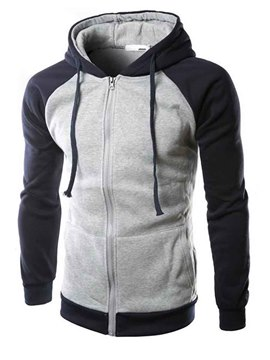 Ericdress Zip Casual Color Block Men's Hoodie
