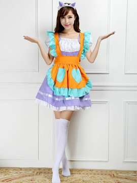 Ericdress Patchwork Falbala Edge Maid Costume