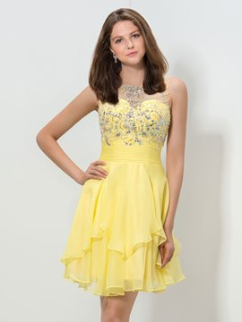 Ericdress Jewel Neck Beaded Sequins Short Homecoming Dress