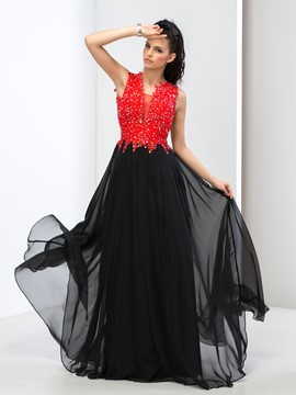Ericdress A-Line Sequins Contrast Color Long Prom Dress