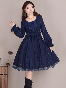 Ericdress Vintage Lace-Up Casual Dress