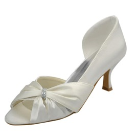 Ericdress White Bowtie Peep-toe Wedding Shoes