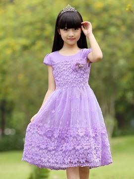 Ericdress Plain Petal Casual Girls Dress
