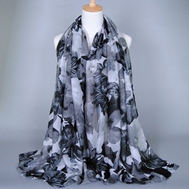 Soft Voile Elegant Flower Printed Female Scarf