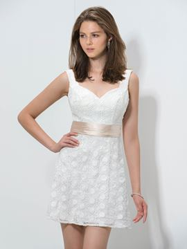 Ericdress Strapless A-Line Lace Ribbon Cocktail Dress