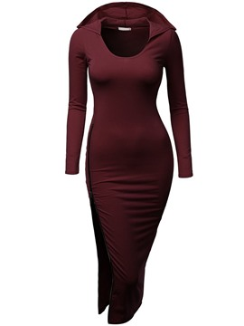 Ericdress Hooded Split Sheath Dress