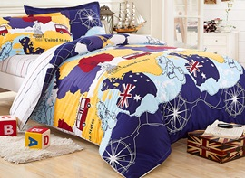 Ericdress World Map Print 3 Piece Bedding Sets