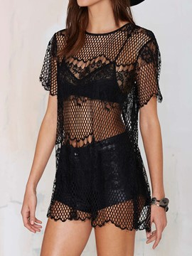 Ericdress Black Fish Net Jacquard Cover-Up