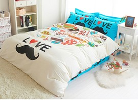 Ericdress Cartoon Moustache Print Cotton 3D Bedding Sets