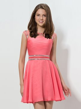 Ericdress Cap Sleeve A-Ling Beaded Homecoming Dress