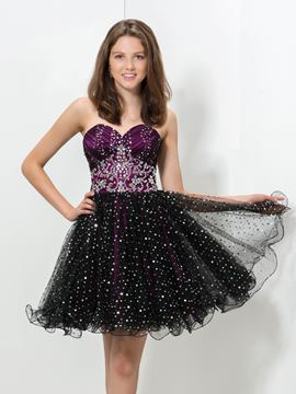 Ericdress A-Line Ruffles Sequins Beaded Homecoming Dress