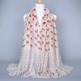 Romantic Different Sizes Heart Decorated Voile Scarf