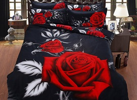 Ericdress Rose Print 5 Piece 3D Bedding Sets
