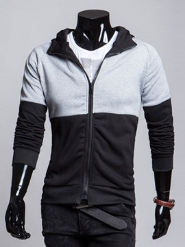 Ericdress Color Block Zip Thin Men's Hoodie