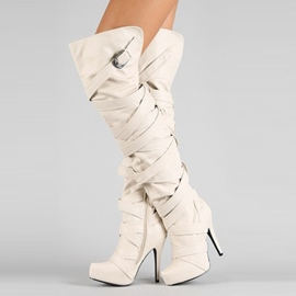 Ericdress Chic Beige Cross Strap Thigh High Boots