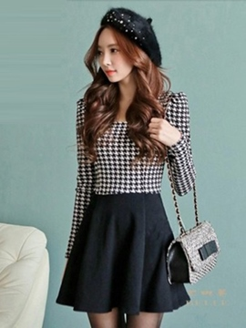 Ericdress Houndstooth Patchwork Casual Dress