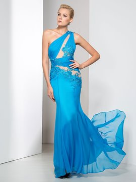 Ericdress Appliques Pleats One-Shoulder Evening Dress