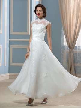 Ericdress Beautiful High Neck Appliques Ankle Length Wedding Dress