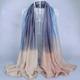 Simple and Generous Gradient Pattern Voile Scarf