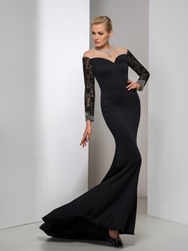 Ericdress Off-The-Shoulder Long Sleeve Lace Sequins Evening Dress